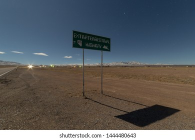 RACHEL, FEBURARY 2019: Sign of Extraterrestrial Highway in Rachel, Nevada, USA