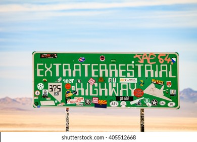 RACHEL, NEVADA - OCTOBER 27, 2012 - The famous sign indicating the beginning of the Extraterrestrial Highway , the road that runs alongside the even more famous Area 51.