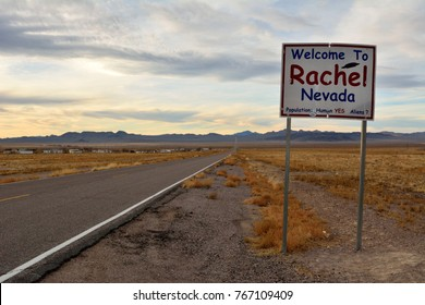 Rachel, Nevada, United States of America -  November 21, 2017.  Welcome to Rachel, Nevada sign on SR-375 highway in Rachel, NV.