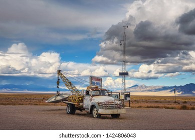 Rachel, Nevada, USA - October 22, 2018 : Vintage pickup truck with an object similar to UFO located along the famous extraterrestrial highway in Nevada close to the Nellis Air Force Range and Area 51