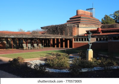 RACINE WI - DECEMBER 2017: Exterior, Frank Lloyd Wright Building Wingspread in Racine, WI in December 2017. Built for president of SC Johnson Wax company. Example of Prairie Style architecture.