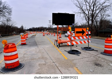 Racine, Wisconsin / USA - January 18, 2019: Road construction continues on Highway 38 and County MM through winter.