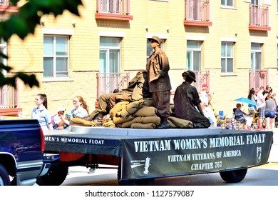 Racine, Wisconsin / USA - July 4, 2018: Vietnam Woman's Memorial Float honoring their sacrifice.