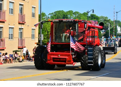 Racine, Wisconsin / USA - July 4, 2018: Case IH equipment at the Racine Fourth of July Parade.