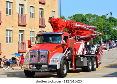 Racine, Wisconsin / USA - July 4, 2018: Putzmeister America pumping equipment at the Fourth of July Parade in Racine.