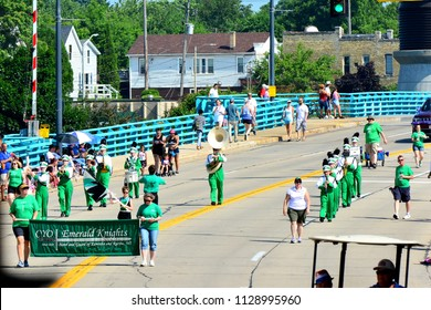 Racine, Wisconsin / USA - July 4, 2018: The Emerald Knights Guard of Kenosha and Racine during the Racine Forth of July Parade.