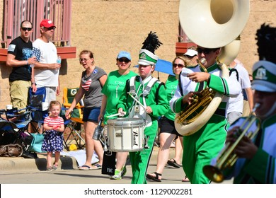 Racine, Wisconsin / USA - July 4, 2018: Drummer for the Emerald Knights Guard of Kenosha and Racine setting the March.