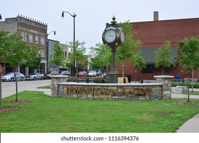Racine, Wisconsin / USA - June 19, 2018: Racine Wisconsin welcome to downtown park area on an overcast day.