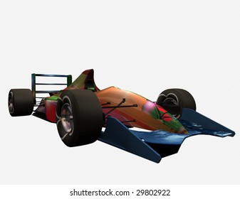 The racing automobile on a white background