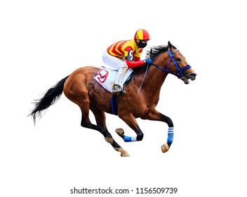 Racing, background, horses, racetrack isolated on white background - Shutterstock ID 1156509739