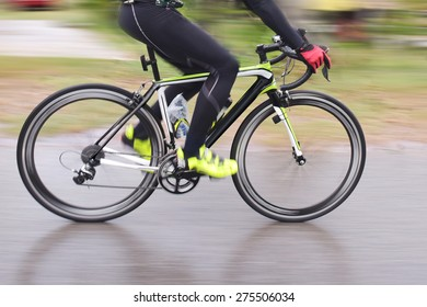 Racing Bike motion blur male cycling bicycle.