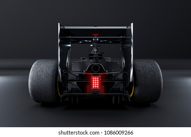 Racing car view from behind - studio render