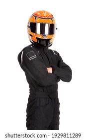 Rennfahrer mit Helm einzeln auf Weiß