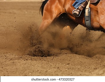 A racing horse skidding  in the dirt.