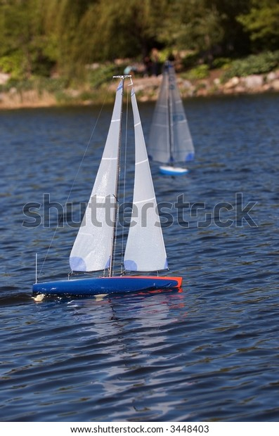 Racing Model Sailboats Two Sailboats Race Stock Photo (Edit