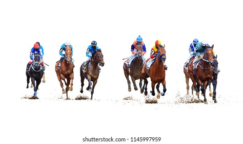 racing on the racetrack, finish, start on white background