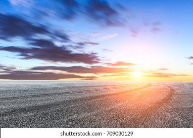 Racing track and beautiful sky cloud landscape