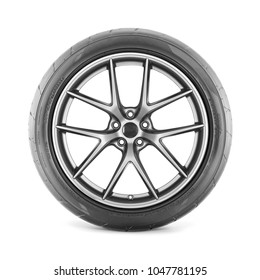 Racing Wheel Isolated on White Background. Side View of Car Wheel with Tire. Tubeless Car Tyre. Semi-Trailer Truck Tire. Tractor Tire. Black Rubber Truck Tire. Polished Chrome Car Rim. Clipping Path