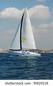 Racing yacht in a  Mediterranean sea
