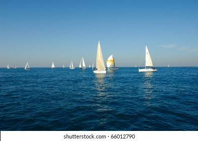 Racing yacht in a sea