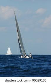 Racing yachts in a  Mediterranean sea