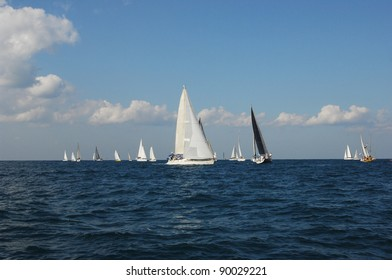 Racing yachts in a  Mediterranean sea