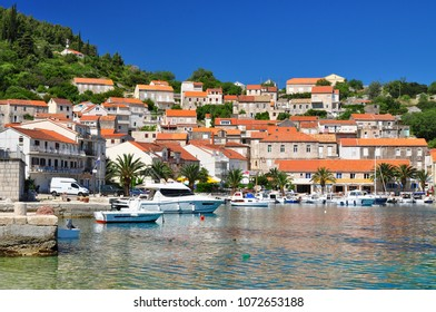 Racisce adriatic village houses in Korcula Croatia