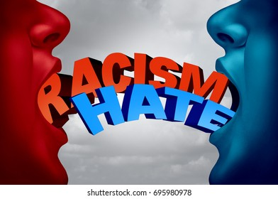 Racism and hate social issue as two racist people in a hate filled argument with text as a society current affair metaphor with 3D illustration elements.