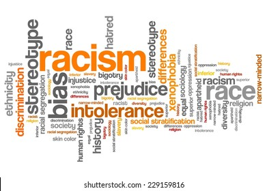 Racism - social issues and concepts word cloud illustration. Word collage concept.