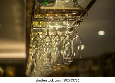 Rack of champagne glasses - 1