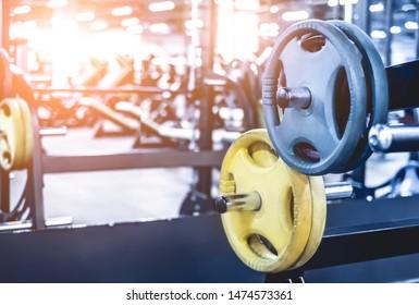 rack with differen weights in light modern gym
