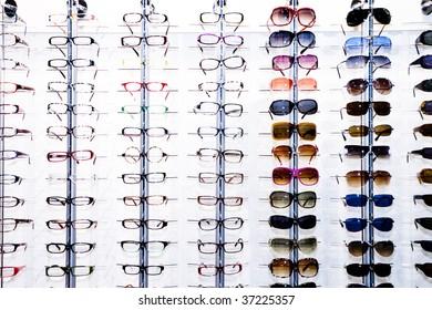 A rack of eyeglasses in shop