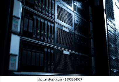 Rack mounted system storage blade servers under dark tone selective focus
