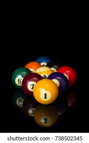 A rack of nine ball, shot in studio. Great for tournament posters and event banners. Vertical