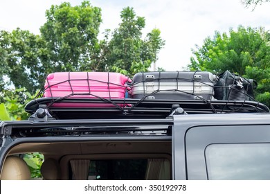 Rack on the roof van color luggage stack