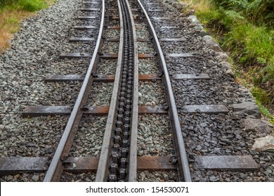 Rack and pinion railway on snowdon wales