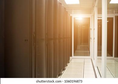rack server and network in data center room.