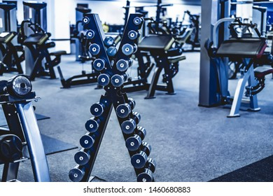 rack with a set of dumbbells in the gym
