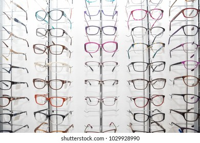 Rack with spectacle frames in an optician's shop