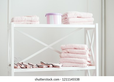 Rack with towels in the spa salon.