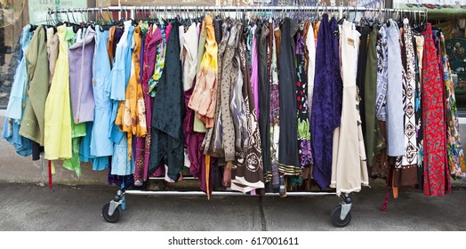 Rack of used women's dresses.