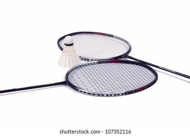 racket and shuttlecock  isolate on white background