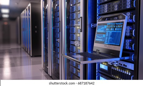 Rackmount LED console in server room data center - 3d illustration