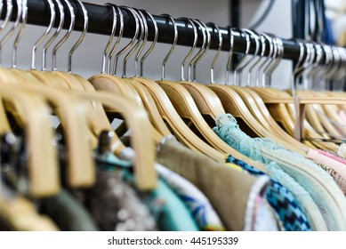 Racks of clothes in a store