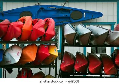 Racks of kayaks