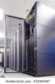 rackserver hardware with an open door in the data center
