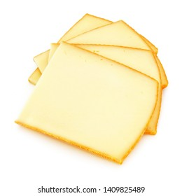 Raclette cheese slices isolated on white