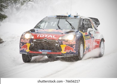 RADA, SWEDEN - FEB 10: Sebastien Ogier driving his Citroen DS3 WRC at the Shakedown in the WRC event Rally Sweden 2011, in Rada, Sweden on Feb 10 , 2011.