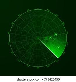 Radar. Blip. Detection of objects on the radar. illustration
