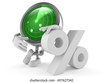 Radar character with percent symbol isolated on white background. 3d illustration
